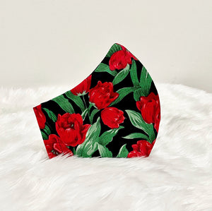 Red on Black Tulip Flower Cotton Mask