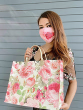 Load image into Gallery viewer, Pink Roses Faux Leather Tote Bag