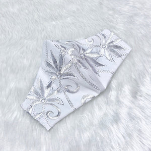 Embroidered White 'Shiny Silver Flowers' 100% Pure Cotton Mask