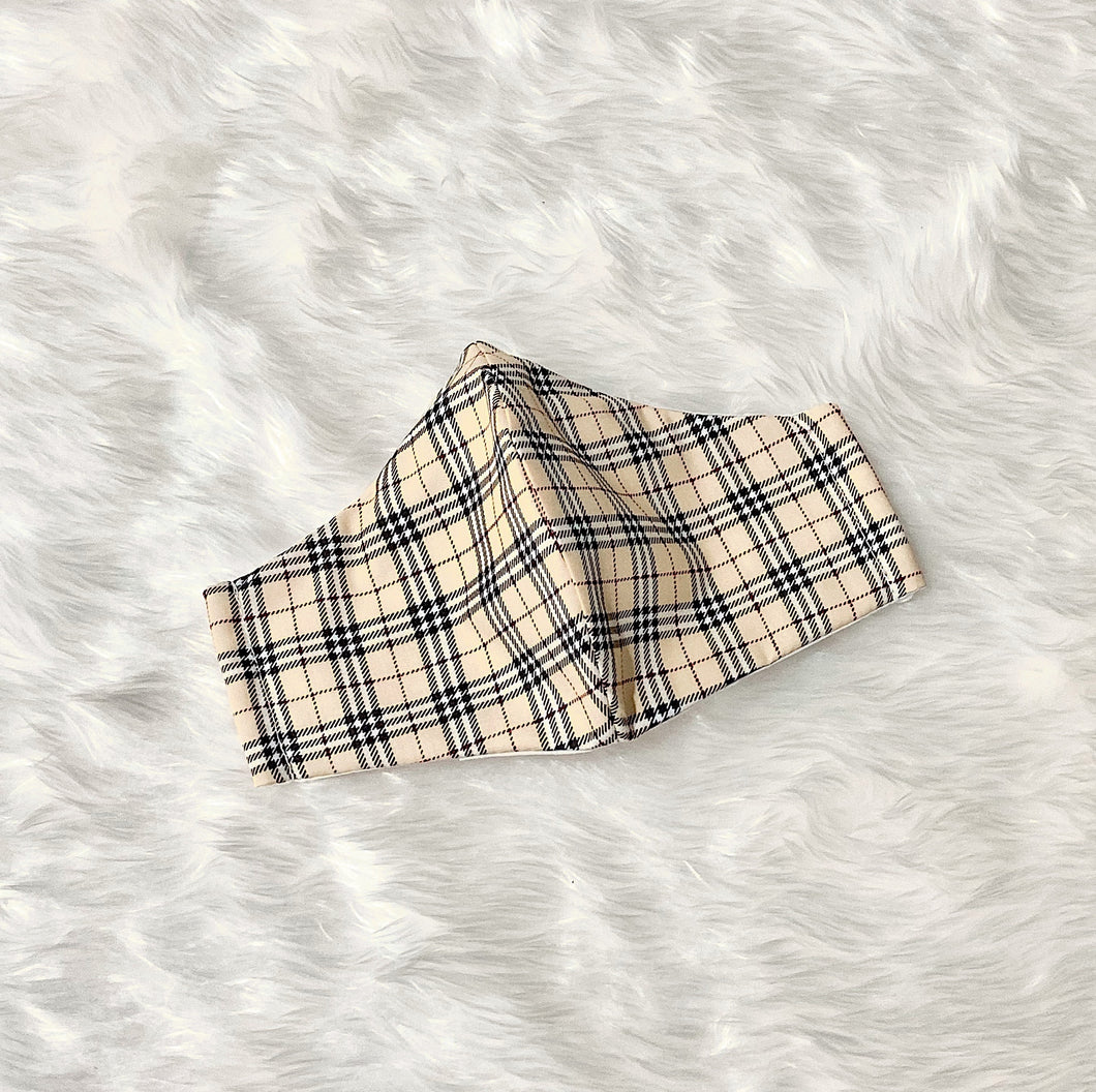 Plaid Pattern 100% Pure Cotton Mask