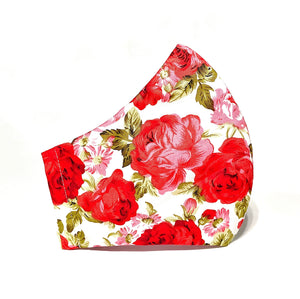 Red Roses Flower Printed Handmade Face Mask