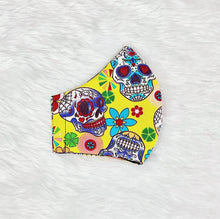 Load image into Gallery viewer, Colorful Skulls 100% Pure Cotton Mask