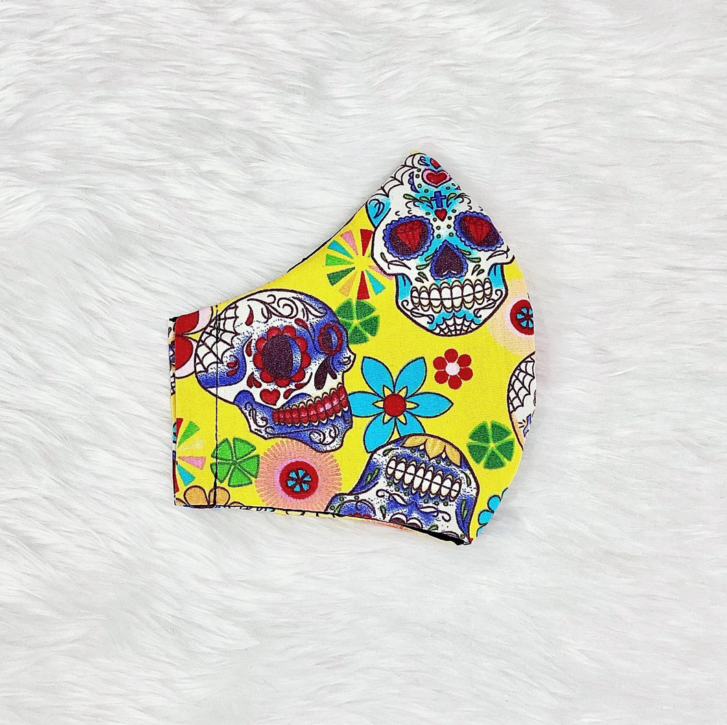 Colorful Skulls 100% Pure Cotton Mask