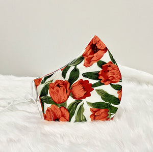 Orange Tulip Flower Cotton Mask