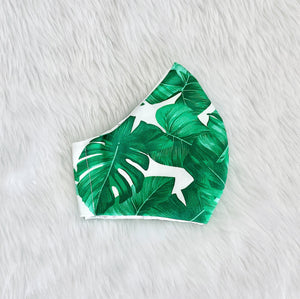 Tropical Wide Leaves 100% Pure Cotton Mask