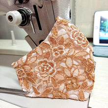 Load image into Gallery viewer, Orange-Gold Lace Pattern Face Mask With Filter Pocket