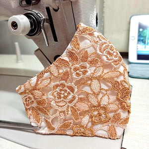 Orange-Gold Lace Pattern Face Mask With Filter Pocket