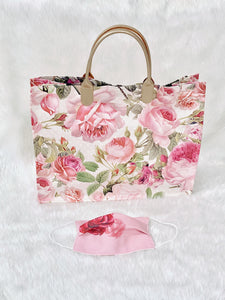 Pink Roses Faux Leather Tote Bag
