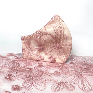 Pink Lace Flower Print Face Mask - Handmade Unique Style
