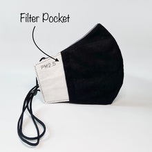 Load image into Gallery viewer, Dark Gray Water Repellent Mask With Filter Pocket