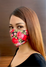 Load image into Gallery viewer, A beautiful girl wearing a red rose printed cotton mask.
