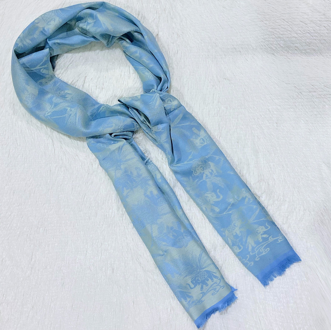Elephant Pattern Shiny Cotton Scarf