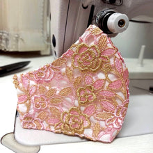 Load image into Gallery viewer, Pink-Gold Lace Pattern Face Mask With Filter Pocket
