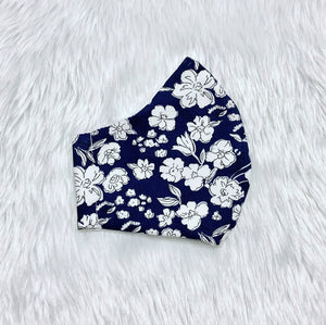 Small White Flowers on Dark Print 100% Pure Cotton Mask