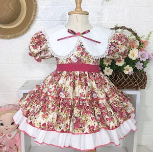 Handmade Girls Floral Print Dress + Red Roses Mask