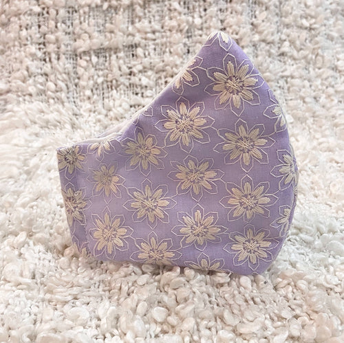 Lavender Filter Pocket Mask with Embroidered Flowers