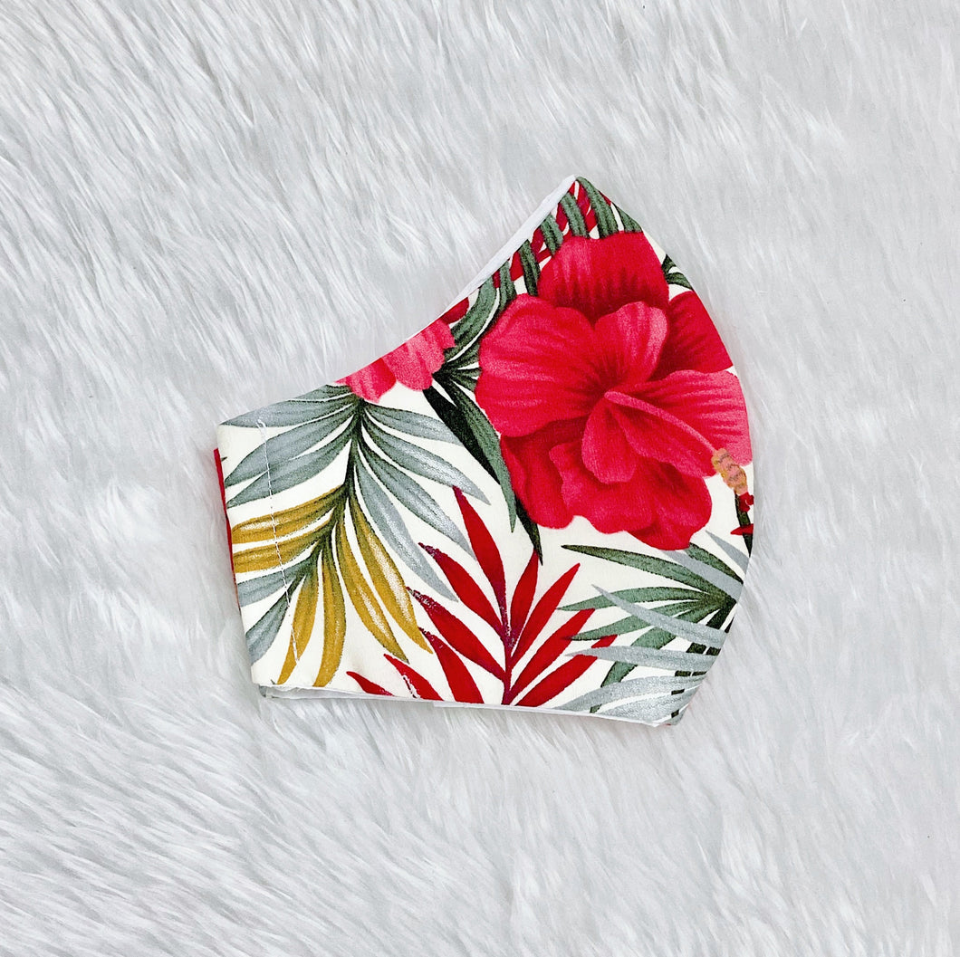 Tropical Leaves and Flowers 100% Pure Cotton Mask