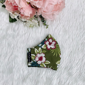 Flowers on Green 100% Pure Cotton Mask