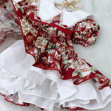 Load image into Gallery viewer, Handmade Girls Floral Print Dress + Red Roses Mask