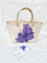 Load image into Gallery viewer, Purple Flower PU Tote Bag