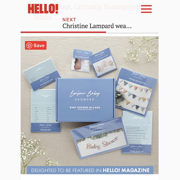 HELLO! MAGAZINE FEATURES BABY SHOWER IN A BOX