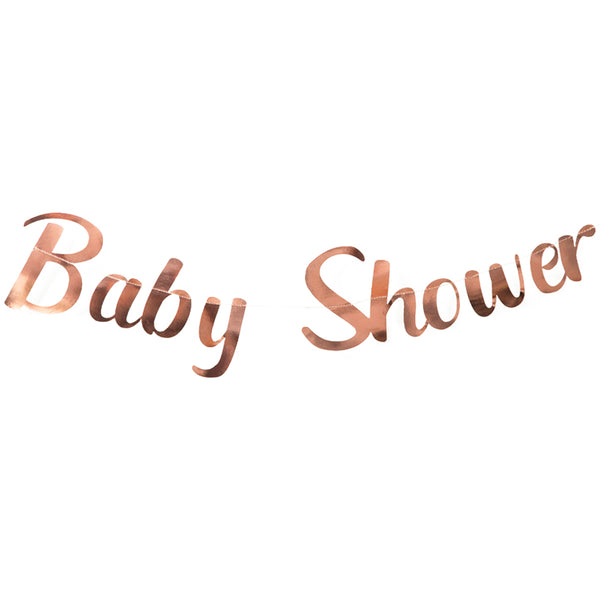 rose gold baby shower banner on white background