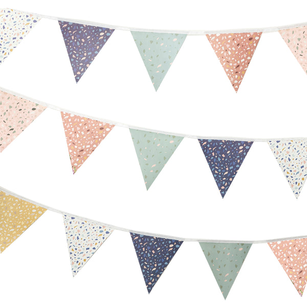 Terrazzo print bunting on white background
