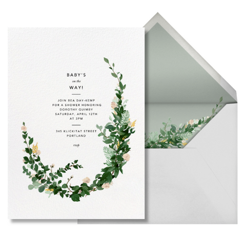Paperless post greenery baby shower invitation
