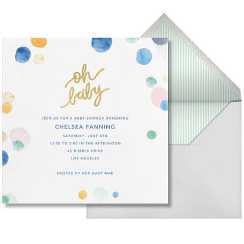 Paperless post watercolour baby shower invitation