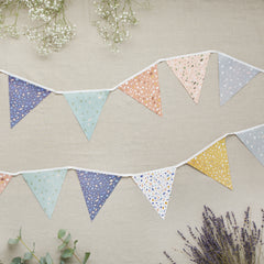 terrazzo print bunting for a baby shower with lavender