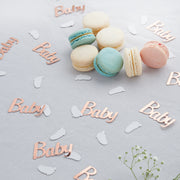 rose gold baby confetti with white baby confetti and macarons
