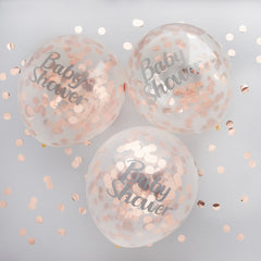 Rose gold baby shower confetti balloons