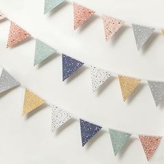 Terrazzo print bunting on a white background