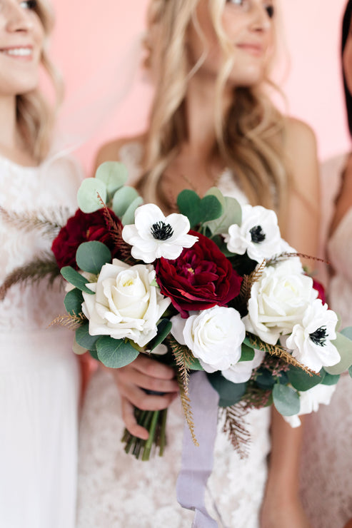 Burgundy and White Fake Flower Bridal Bouquet