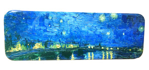 DAHO Tin Pencil Box with World Famous Arts for School, Office, Home, Makeup Storage (Starry Night Over The Rhone)