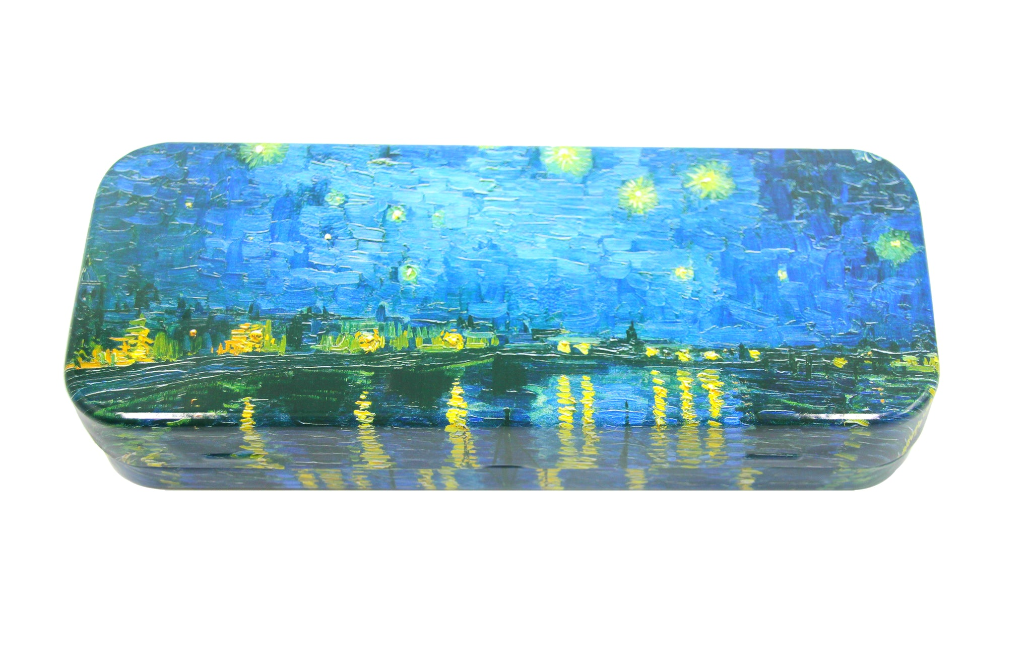 DAHO Mega Tin Pencil/Storage Box with World Famous Arts for Office, Home, Makeup, Accessories Storage (Starry Night Over The Rhone)