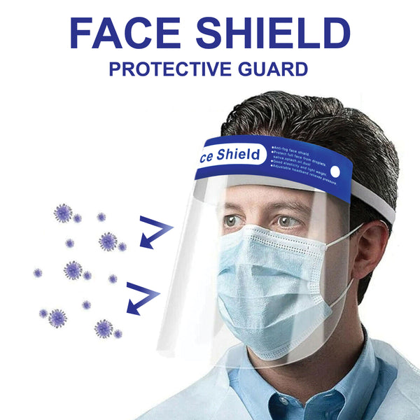 Safety Face Shield, Reusable Plastic Clear Full Face shield Transparent Anti-Splash Face Mask Protection with Elastic Band