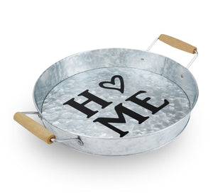 Galvanized Round Tray w/Wooden Handles for Home, Office, Party, Wedding, Spa, Serving