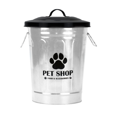 Gathery Pet Galvanized Metal Storage Basket with Lid for Pet foods, Treats, Snacks, Toys and more