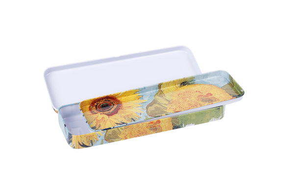 DAHO Tin Pencil Box with World Famous Arts for School, Office, Home, Makeup Storage (Sunflower)