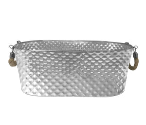 "Stainless Steel Texture Oval Ice Bucket Tub 20"" (Rope Handle)"