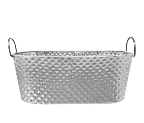 "Stainless Steel Texture Oval Ice Bucket Tub 20"" (MetalHandle)"