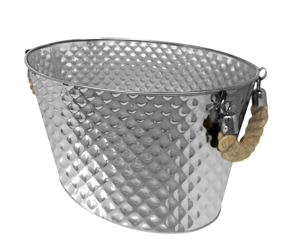 "Stainless Steel Texture Oval Ice Bucket Tub 15"" (Rope Handle)"