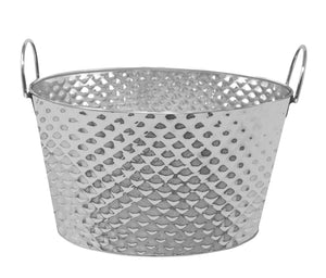 "Stainless Steel Texture Oval Ice Bucket Tub 15"" (Metal Handle)"