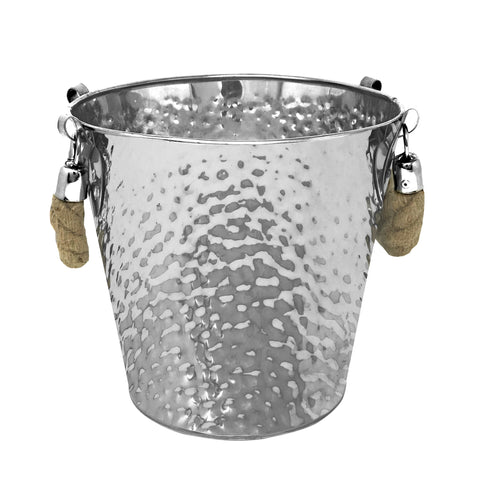 "Stainless Steel Texture Round Ice Bucket 9"" (Rope Handle)"