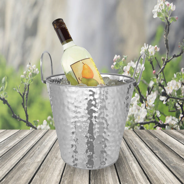 "Stainless Steel Texture Round Ice Bucket 9"" (Metal Handle)"