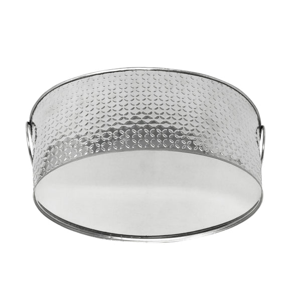 Stainless Steel Texture Oval Ice Bucket Tub (14'')