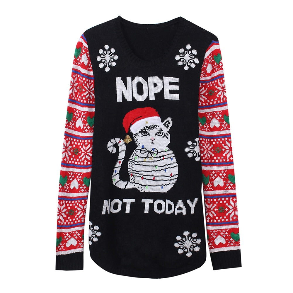 Led Light Up Ugly Christmas Sweater Knitted Nope Cat