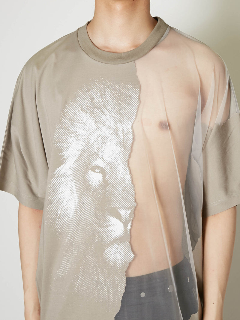 HALF BURNED LION TEE
