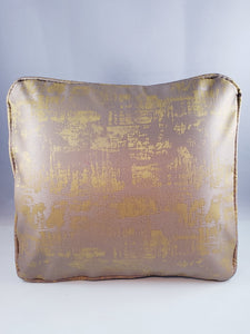 Taupe and Gold Raw Silk Comfee Cushion